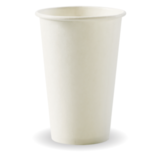 12oz Coffee Cups White (fits small lids) Single Wall - BioPak