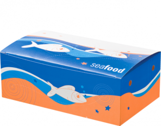 Large Seafood Snack Boxes, Printed 'Seafood', Bulk Packed - Castaway