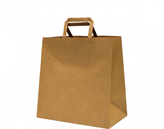 Paper Carry Bag with Flat Paper Handle, Medium, Brown - Castaway