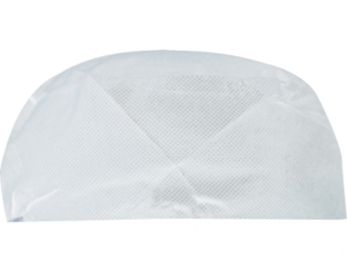 PrimeSource' Disposable Flat-top Chef's Cap, Non-Woven, White - Castaway