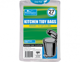 PrimeSource' Medium Kitchen Tidy Bags - 27 Litres, Individually Folded - Castaway