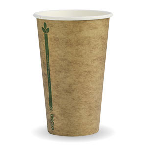 12oz Coffee Cups Kraft green line (fits small lids) Single Wall - Biopak